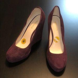 Purple Suede Nine West Platform Wedge Heel, Size 8